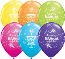 Birthday Cake & Candle - 11 Inch Balloons 25pcs